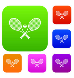 crossed tennis rackets and ball set collection vector image