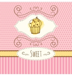 Cupcake hand drawn card with vector image