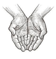 cupped hands folded arms sketch vintage vector image