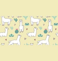 Cute alpaca seamless pattern design with cactus vector