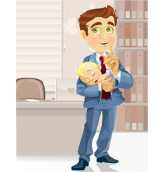 Cute business dad in office with sleeping vector