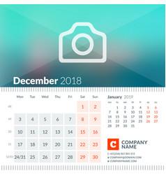 december 2018 calendar for 2018 year week starts vector image