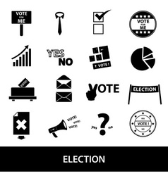 election black simple icons set eps10 vector image