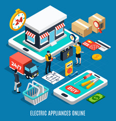 electricity isometric colored 3d composition vector image