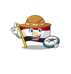 Explorer flag egypt folded in mascot cupboard vector