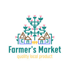 farm or farmer market banner with country cottages vector image