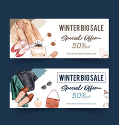 Fashion banner design with coat shoes earrings vector