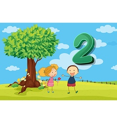 Flashcard number 2 with two children in the park vector