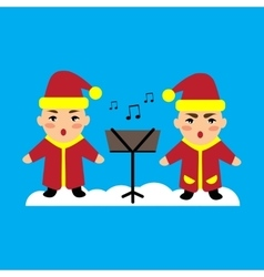 Flat icon on blue background children sing carols vector