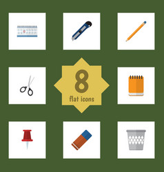 Flat icon stationery set of notepaper knife vector