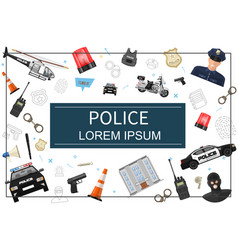 Flat police elements template vector