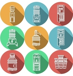 Flat round icons for water coolers vector image