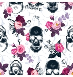 Floral seamless pattern with monochrome human vector image