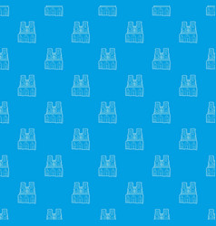 french castle pattern seamless blue vector image