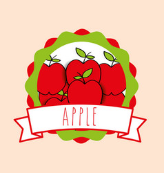fresh apple natural fruit organic emblem design vector image