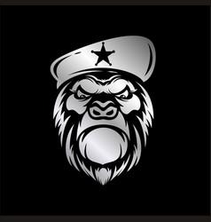gorilla head in gray gradient color premium vector image