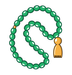 green rosary icon cartoon style vector image