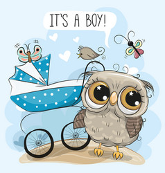 Greeting card its a boy with baby carriage and owl vector