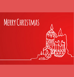 greeting card with hand-drawn christmas candles vector image