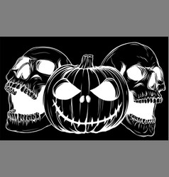 Halloween poster with pumpkin and punk skulls in vector