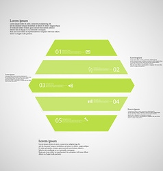 Hexagonal infographic template consists of five vector image