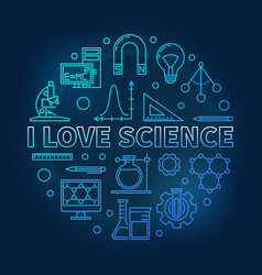 i love science blue round in vector image