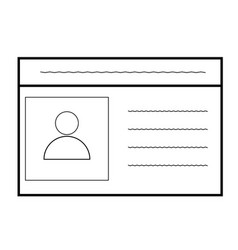 id card icon on white background car driver vector image