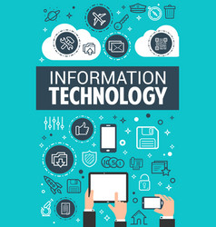 Information technology data poster vector