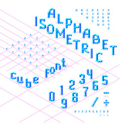 Isometric font alphabet abc from blue cubes vector