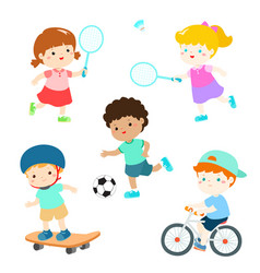 Kids in various sport activity vector