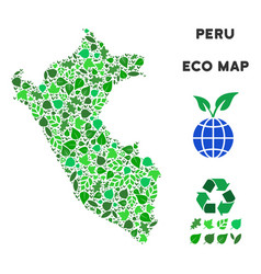 leaf green composition peru map vector image
