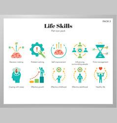 Life skills icons flat pack vector
