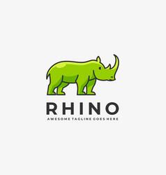 Logo rhino elegant simple mascot style vector