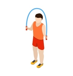 Man jumping with skipping rope icon isometric 3d vector image