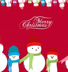 Merry Christmas snowman background vector