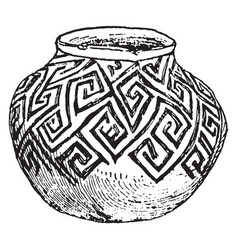 Mexican tusayan jar sketched in american vector