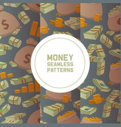 Money packing in bundles bank notes bills fly vector
