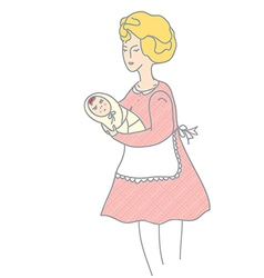 Mother and baby retro style vector image