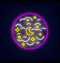 night sky neon banner vector image