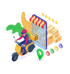 online order package delivery service vector image