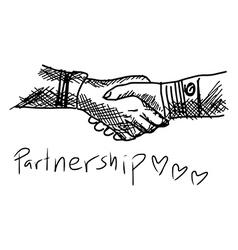 Partneship Sketch handshake with word partnership vector image