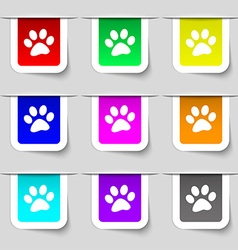 Paw icon sign Set of multicolored modern labels vector