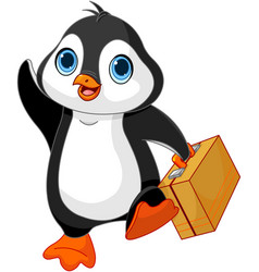 Penguin with a suitcase vector