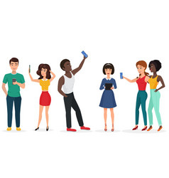 People with gadgets making selfie guys and girls vector