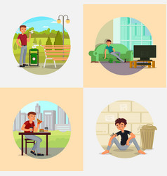 People with various addictions flat vector