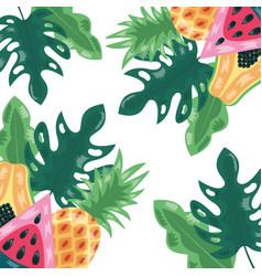 pineapple watermelon papaya tropical fruits vector image