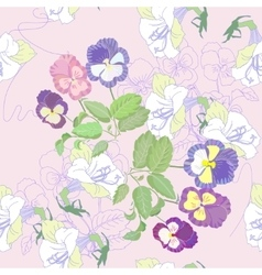 Pink seamless pattern with pansies vector