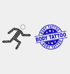 Pixel running man icon and distress body vector