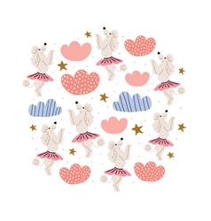 Poodle dogs in ballet skirts circle vector