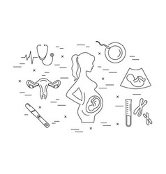 pregnancy and childbirth line icons vector image